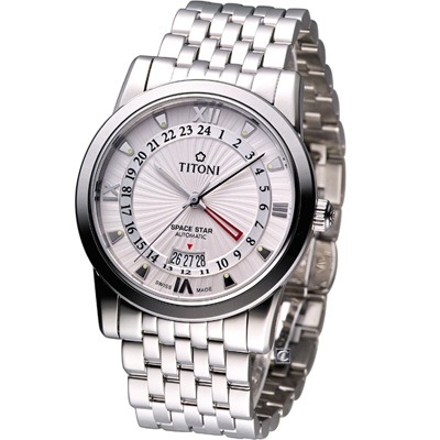 TITONI Spacestar 天星系列 GMT機械腕錶-銀白/41mm