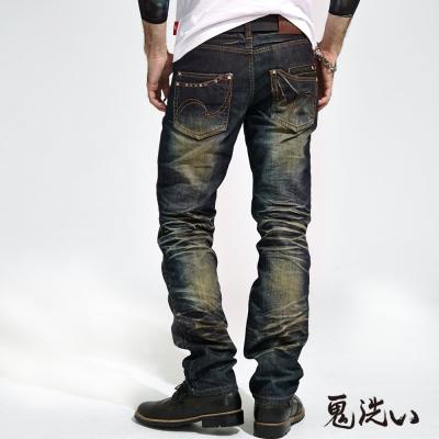鬼洗-BLUE-WAY-繡雙線袋花鉚釘低腰直筒褲