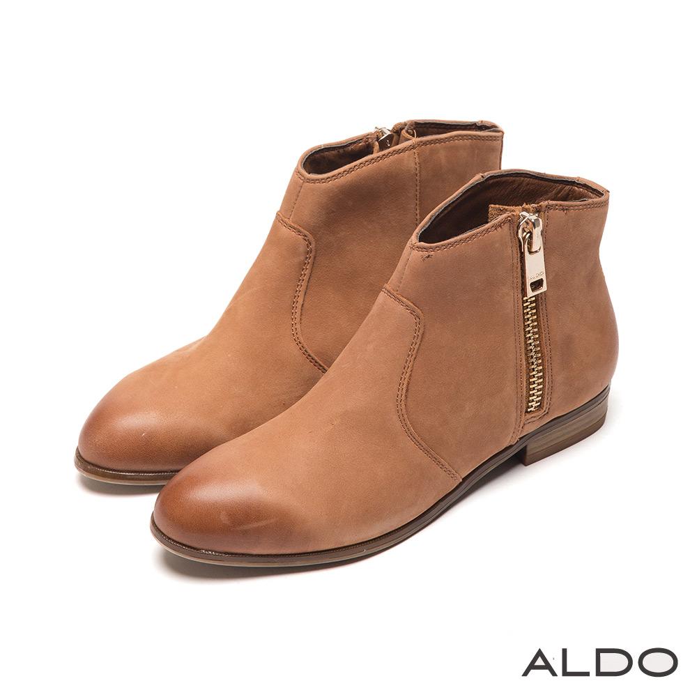 ALDO 西部迷情原色真皮金屬拉鍊幾何短靴~個性焦糖