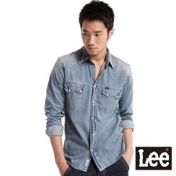 【Lee】101牛仔合身襯衫-男款(藍)