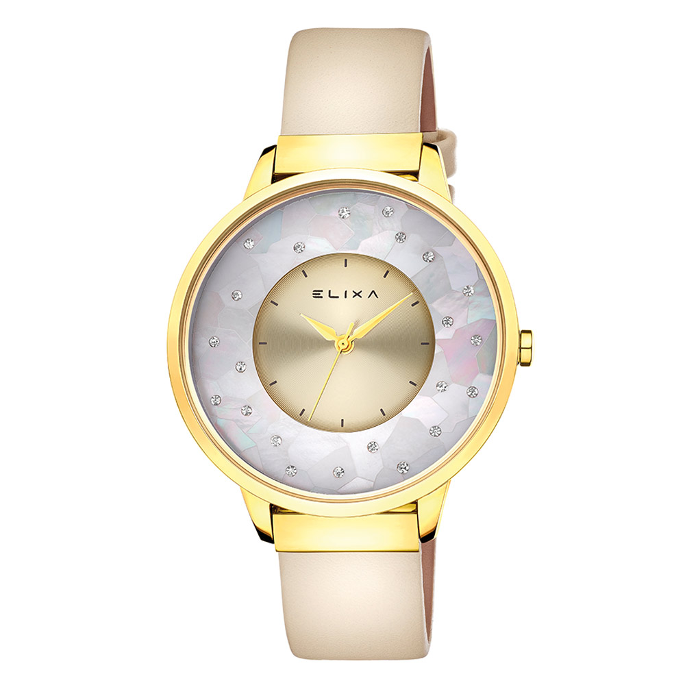 ELIXA Finesse晶鑽錶面簡約刻度皮革系列 奢華金38mm