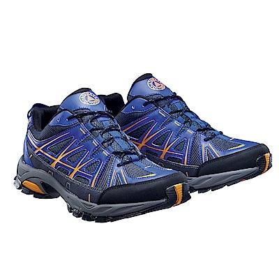 【ATUNAS 歐都納】男款休閒透氣耐磨短筒登山健行鞋GC-1612藍/黑