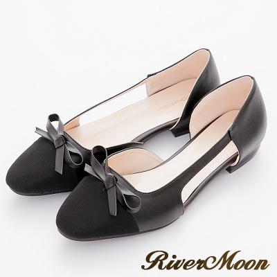 River-Moon法式典雅-朵結小香風微方頭復古簍空跟鞋-黑