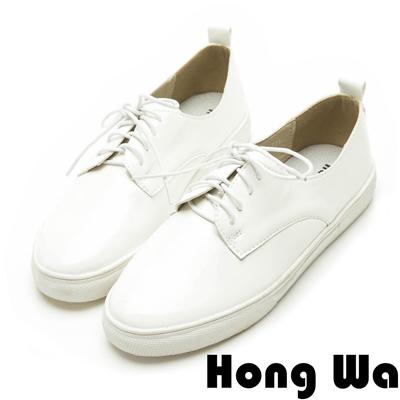 Hong Wa韓系極簡時尚漆皮綁帶休閒便鞋-簡約白