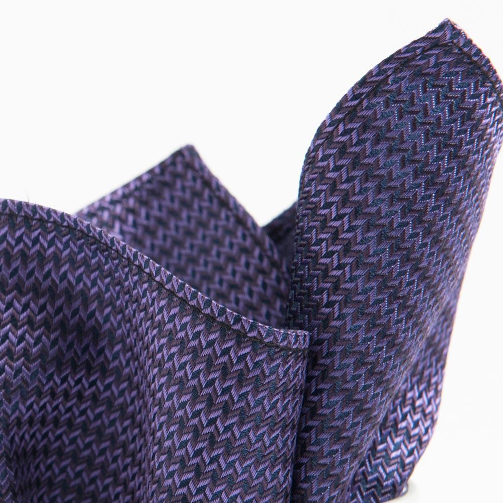 極品西服 100%絲質口袋方巾_紫咖啡梯格
