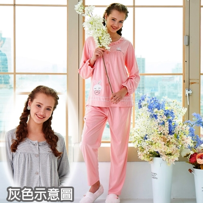 睡衣 精梳棉柔針織 長袖兩件式睡衣(67209)麻灰色 蕾妮塔塔