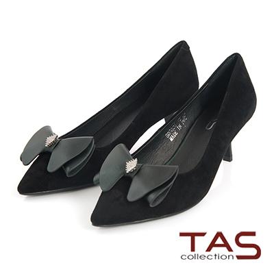TAS-蝴蝶結水鑽羊麂皮尖頭高跟鞋-成熟黑