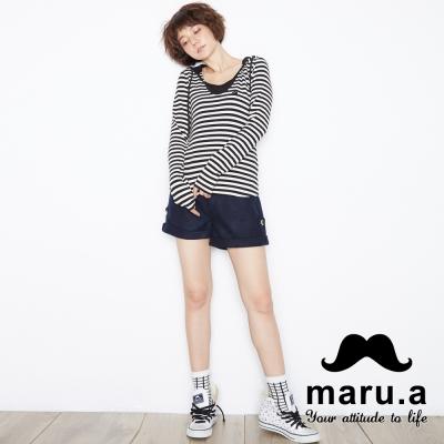 maru-a麻洛野-反摺褲管LOGO吊飾短褲