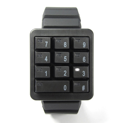 CLICK 創意爆破數字鍵盤個性腕錶-黑/45mm