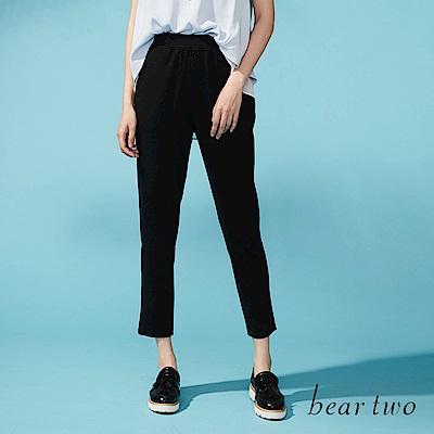beartwo運動風配條彈性窄口九分褲(二色)