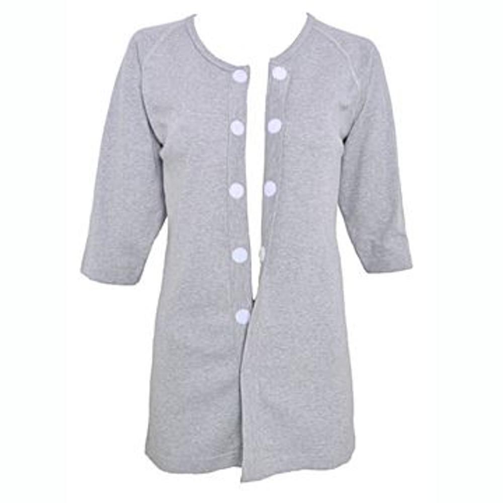 樂著衣 女秋冬魔術扣胸前開長袖上衣-灰色