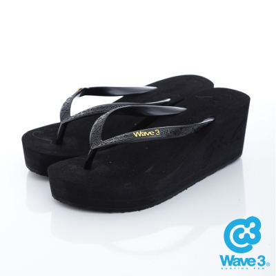 WAVE3【女】台灣製LOGO飾扣厚底人字夾腳拖鞋~黑