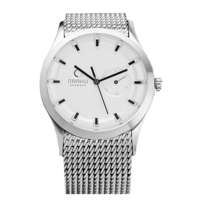 OBAKU 極簡時刻日期米蘭帶腕錶-銀框白面/41.5mm