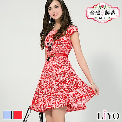 LIYO理優洋裝MIT玫瑰印花收腰洋裝(紅,藍)