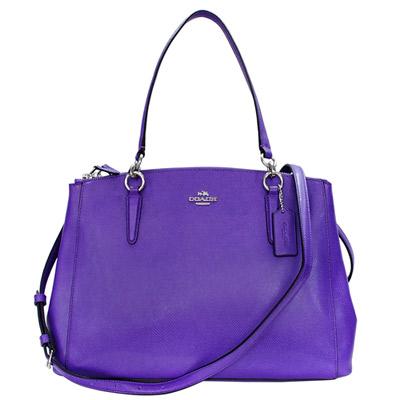 COACH紫色防刮全皮背帶鍊環四層肩背-斜背托特包