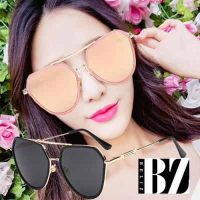 BeLiz 雙層鏡框 貫穿金屬多角框墨鏡 黑