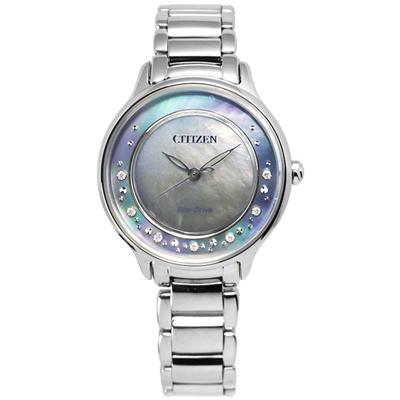 CITIZEN L 絕美風華真鑽白碟貝面光動能女錶(EM0380-65D)-藍/30mm