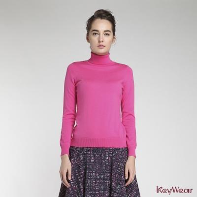 KeyWear奇威名品-羊毛100-經典素面高領長袖針織上衣