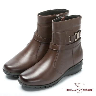 CUMAR嚴選真皮 舒適鞋底真皮短靴-咖啡色