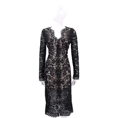 PINKO 黑色蕾絲長袖洋裝(附內襯)