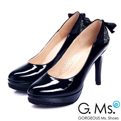 G.Ms.  MIT花嫁系列-蝴蝶結燙鑽閃亮網布厚底細跟鞋-漆皮黑