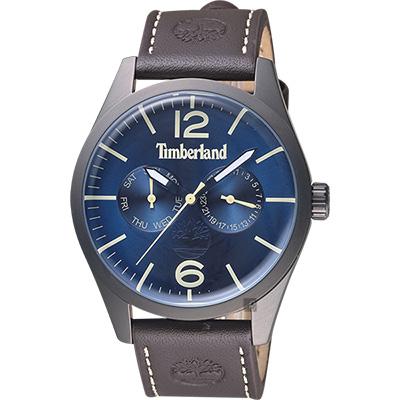 Timberland天柏嵐 MIDDLETON 復刻日曆男錶-藍x咖啡/44mm