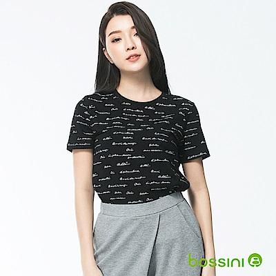 bossini女裝-印花圓領短袖上衣03黑