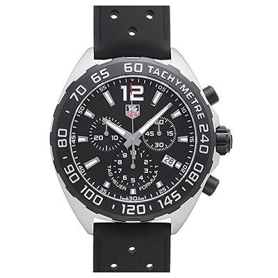 TAG HEUER 豪雅 F1三眼計時黑面橡膠款(CAZ1010.FT8024)x43mm