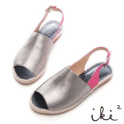 iki2-時尚著色盤-歐美風繫帶藤編涼鞋-銀