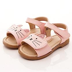 PV日系私藏 貓咪皮質涼鞋款 EI303粉(中小童段)