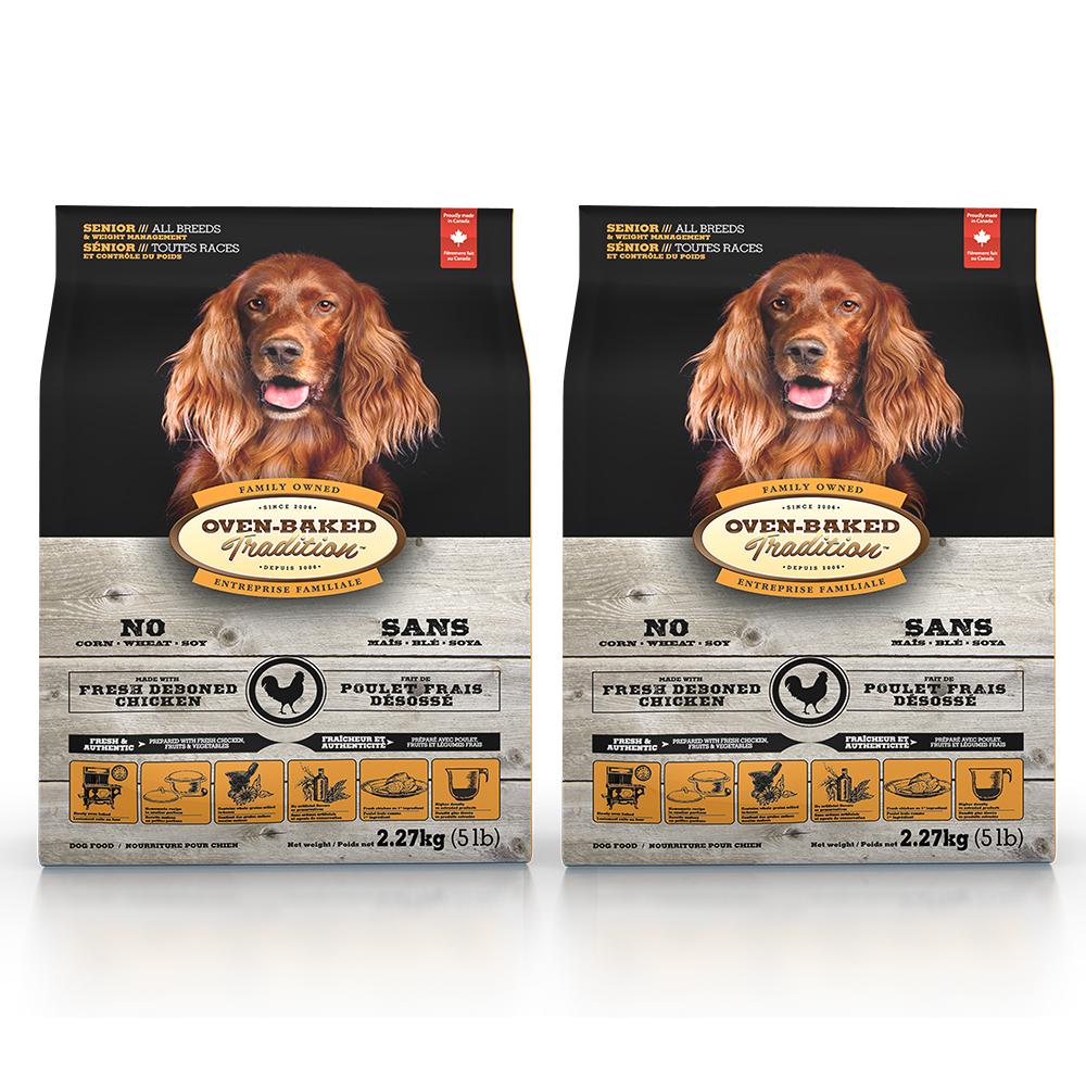 Oven-Baked烘焙客 高齡/減肥犬 雞肉(大顆粒) 天然糧 5磅 x 2入