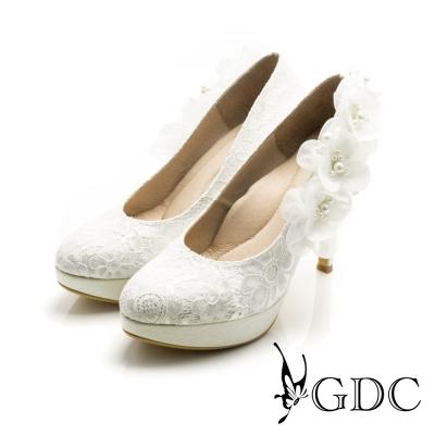 GDC-手工立體紗緞花飾蕾絲高跟鞋(婚鞋)-白色