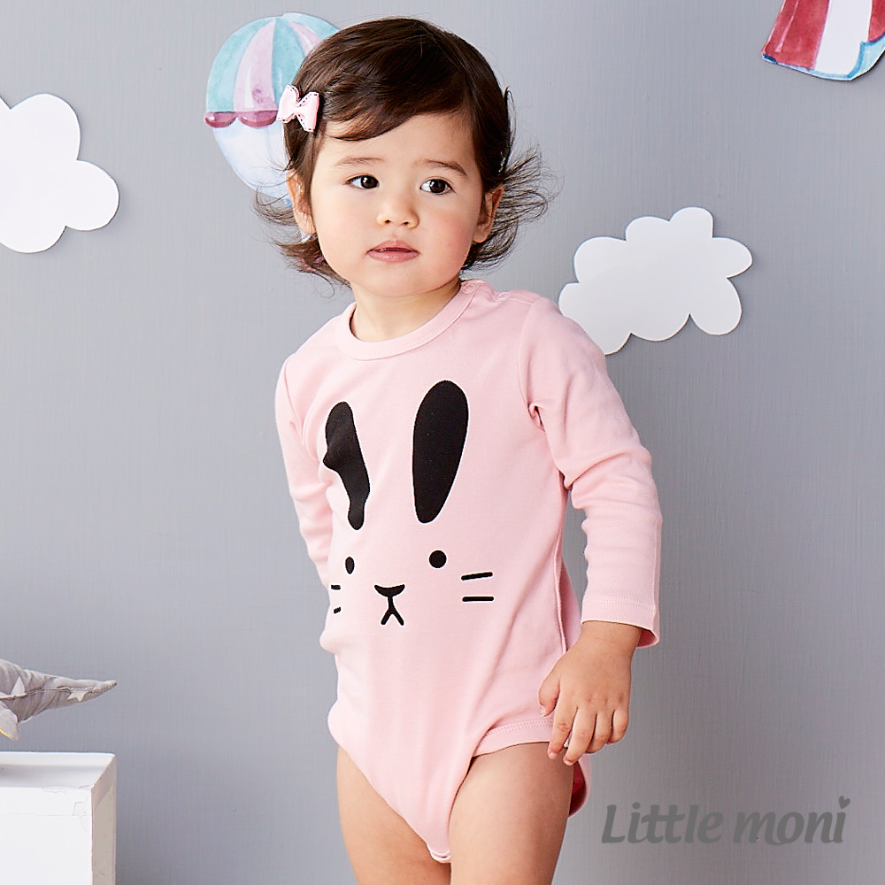 Little moni 純棉家居系列動物印圖包屁衣 粉紅
