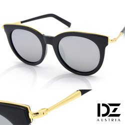 DZ 玩美眉框 抗UV 偏光太陽眼鏡墨鏡(黑框水銀模)