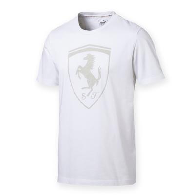 PUMA-男性法拉利經典系列同色大盾牌短袖T恤-白色-歐規