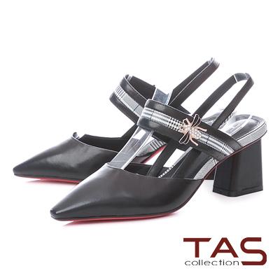 TAS金屬蜜蜂拼接千鳥格紋尖頭粗跟涼鞋-人氣黑