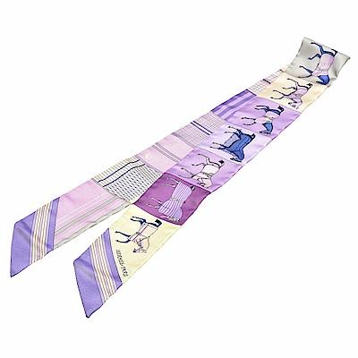 HERMES CouverturesNouvelles馬匹圖案Twilly絲巾領結(粉紫)