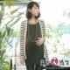日系小媽咪孕婦裝。珍珠排列造型橫條紋長版外套 (共二色)