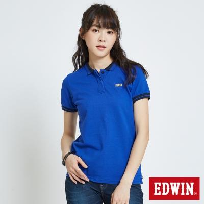 EDWIN 配色領簡約POLO衫-女-藍色