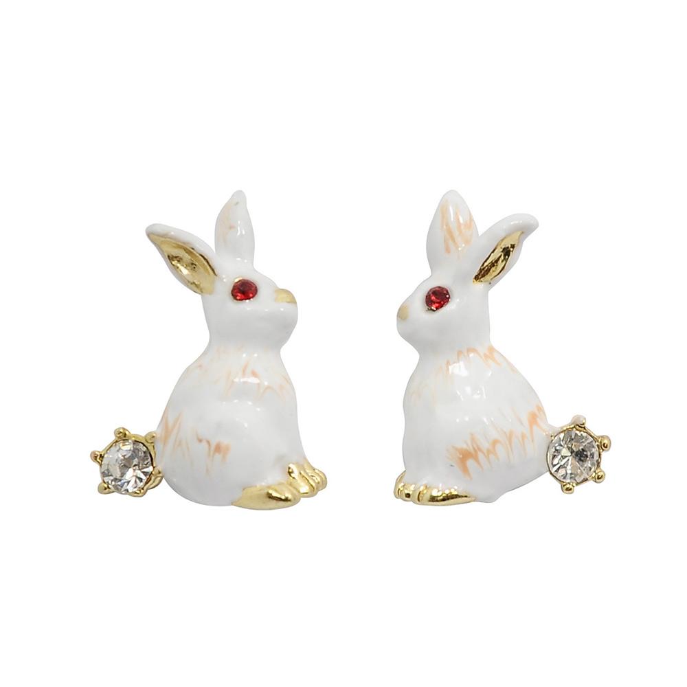 Les Nereides 動物花園系列 閃耀水晶可愛小兔子耳環針式