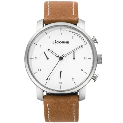 LICORNE MYO系列 精工品味三眼計時手錶-白x卡其色 /45mm