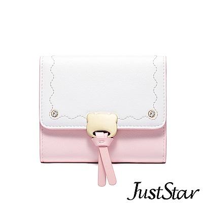 Just Star 萌熊飾釦撞色三折短夾 香草粉
