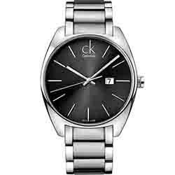 Calvin Klein CK 經典大錶徑白面時尚腕錶-黑灰/45mm