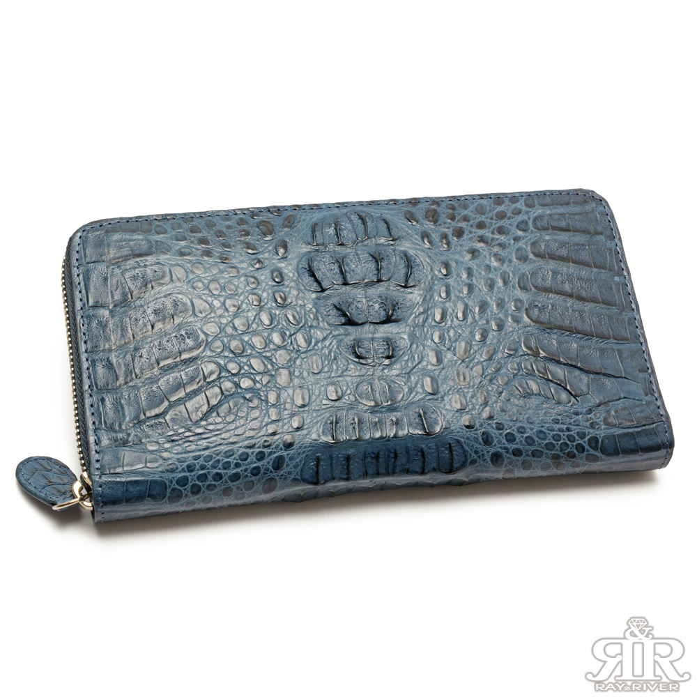 2R 珍稀鱷魚皮 限量訂製拉鍊護照長夾 深靛藍
