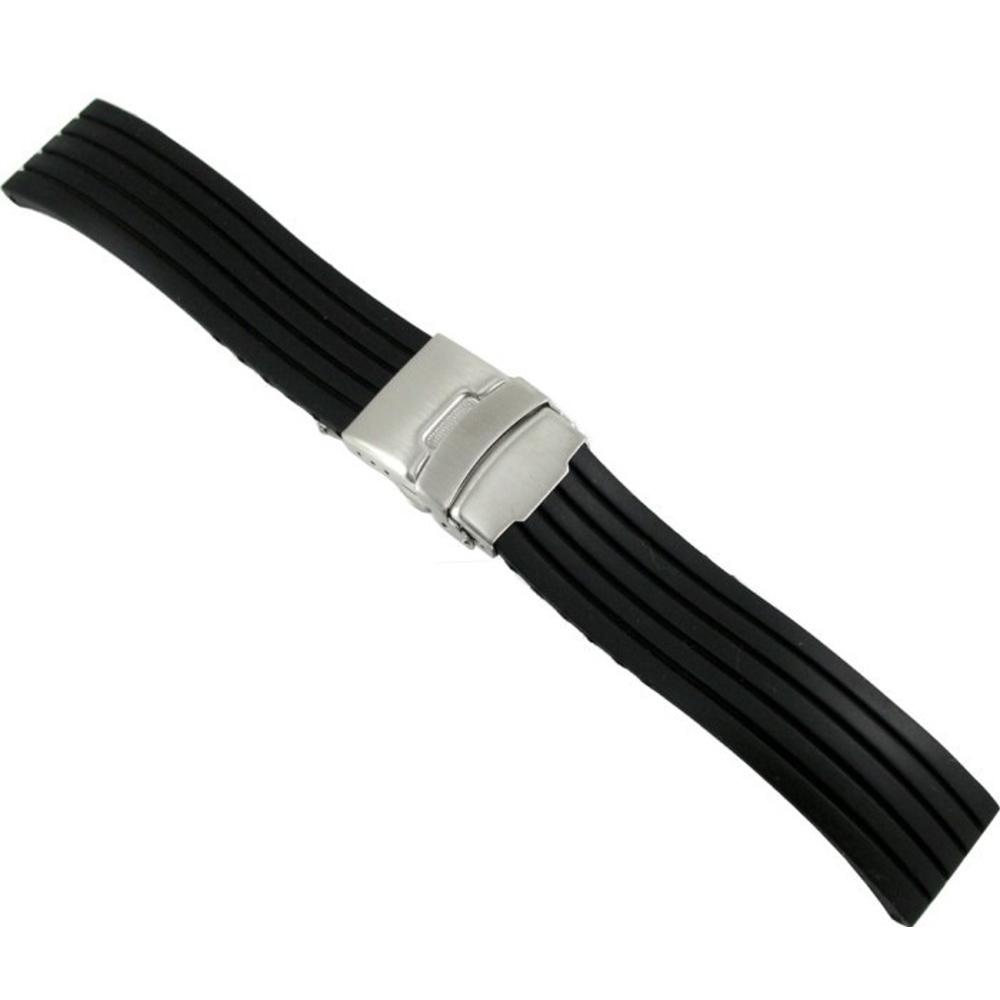 線條紋-運動矽膠彈壓式摺疊扣錶帶