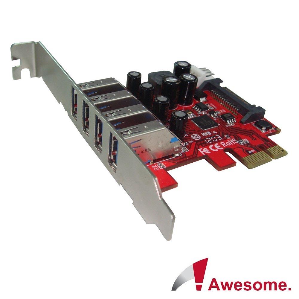 Awesome PCIe 4埠USB3.0擴充卡-AWD-UB-120LN