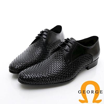 GEORGE 喬治-商務系列 編織綁帶紳士皮鞋-黑