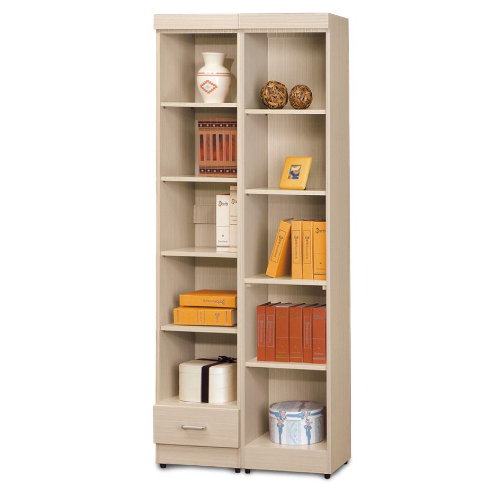 AS-傑西考克白橡色有抽開放式1.3尺+無抽開放式1.3尺書櫃-78x32x185cm