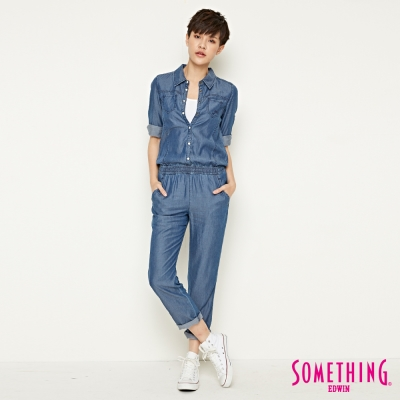 SOMETHING 天絲®七分袖連身褲-女-原藍色
