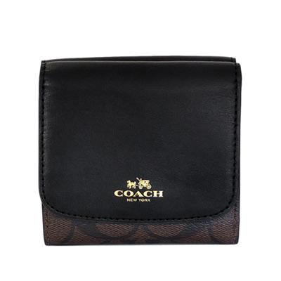 COACH黑色真皮拼接深咖啡C Logo三摺多卡短夾